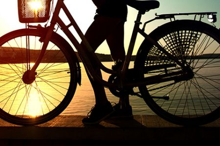 Cruiser bike at sunset