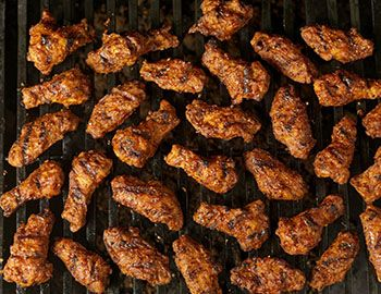 Buffalo wings on the grill