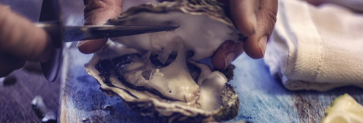 Raw Oyster being cut open