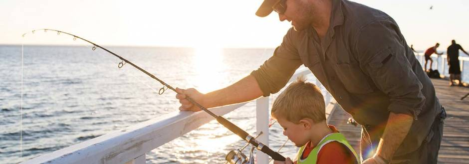 Father and son fishing at Hilton Head Island together