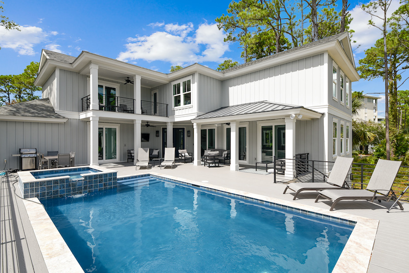 A private pool at a Hilton Head vacation rental