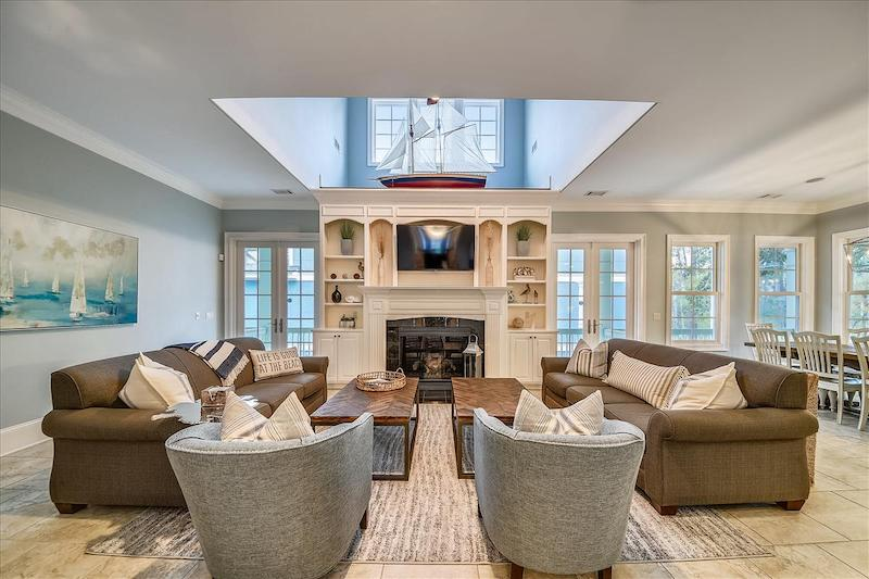A living room in a Hilton Head vacation rental