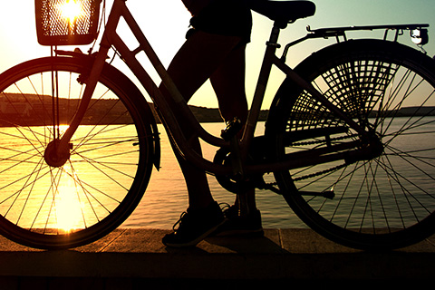 Bike with sunset