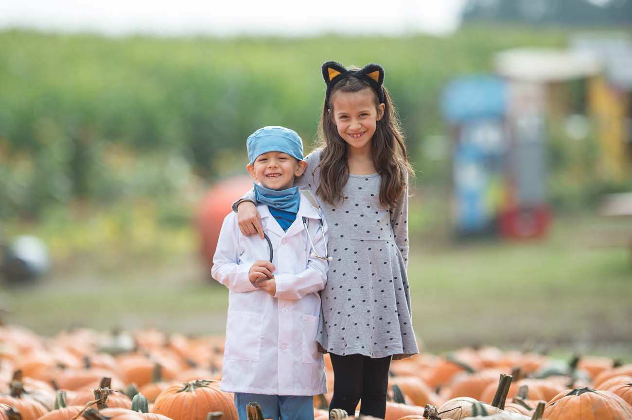 Two children dressed for Halloween