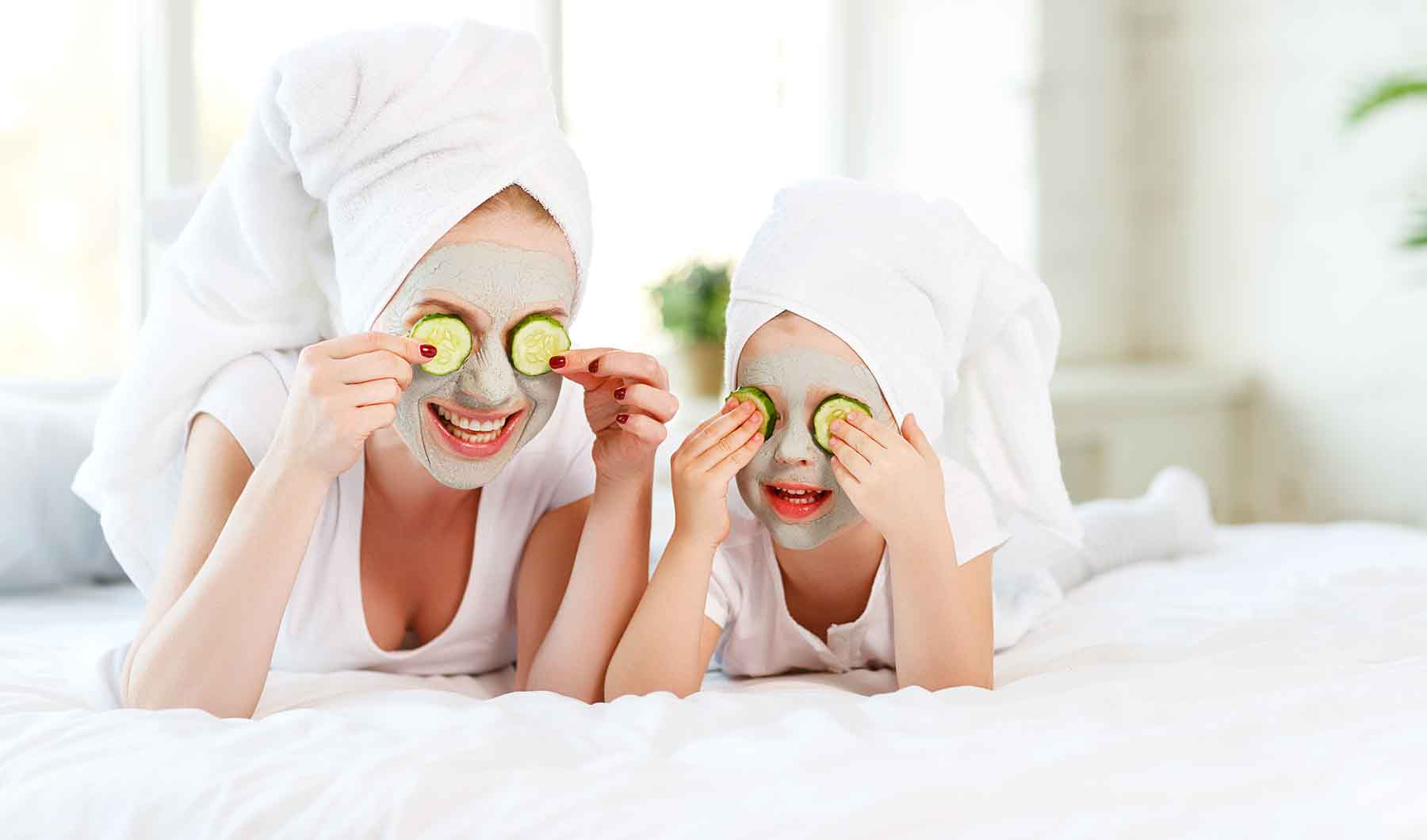 Mom and daughter at the spa