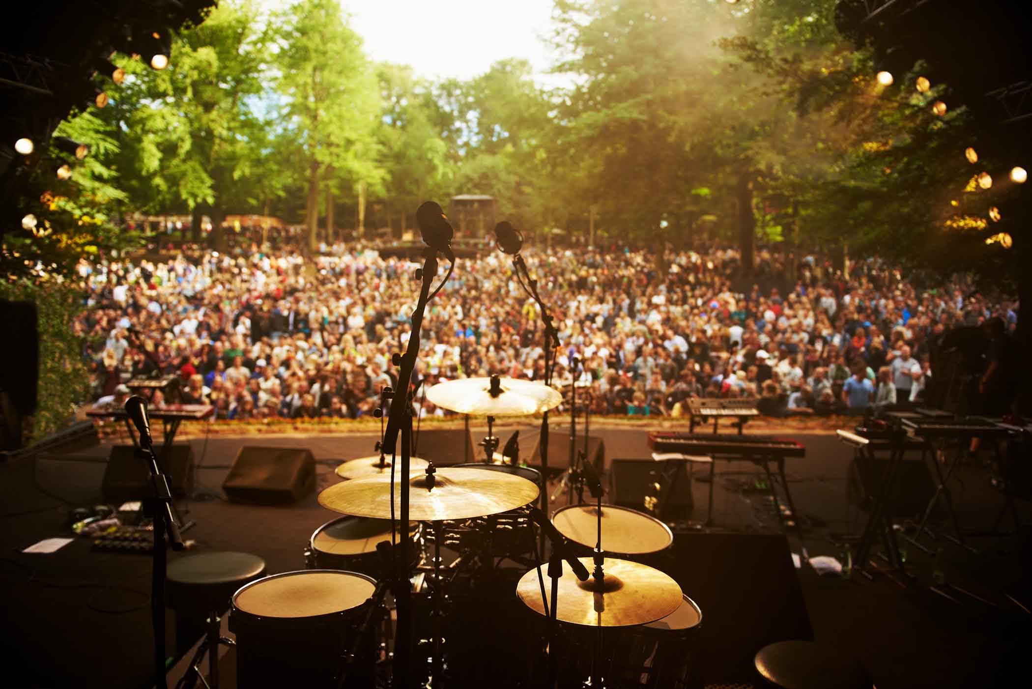 View from a stage looking out on crowd